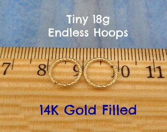 Tiny Faceted Gold Filled 18g Endless Hoops