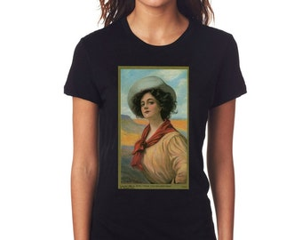 An Early Haskell Coffin Painting Of a Southwestern Woman Printed On A  T Shirt