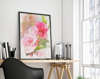 Peony Wall Art, Peony Print, flower print, flower painting, watercolor flowers painting, garden painting, peony art. 8x10 - 24x36inc