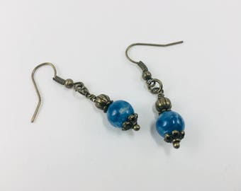 Blue Apatite with bronze accents