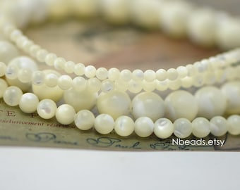 """White Mother of Pearl Shell Beads Smooth Round, 2/ 3/ 4/ 5/ 7/ 9mm Multi Size (V1073) / 15"""" full strand"""