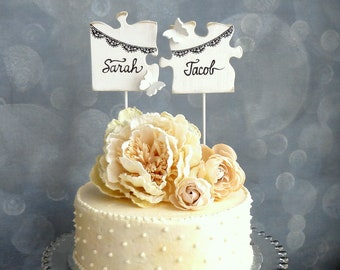 Puzzle Wedding Topper, Banner Cake Topper, Black White Wedding Topper, Personalized with your Names/ His and Hers