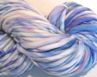 Super Bulky Handspun Yarn Bon Nuit Mon Petit 120 yards pastel blue pink lavender yarn hand dyed merino wool gray knitting supplies crochet