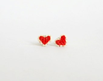 Red heart cross stitch earrings, gifts for her, gifts under 15, valentine's day, gifts for mothers, gifts for girls