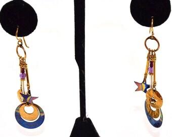 Boho Artisan Tabra 14 Kt. Gold Fill & Niobium Amethyst Celestial Crescent Moon Stars Gypsy Dangle Earrings