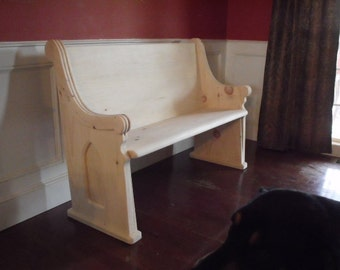 "Unfinished  48"" Wooden Church Pew"