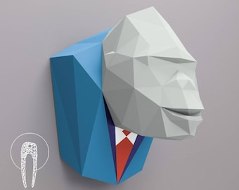 Gorilla head , Papercraft Monkey head , paper trophy , Gorilla paper ,Gorilla low poly , papercraft, DIY, 3D, trophy, papermodel, Eburgami