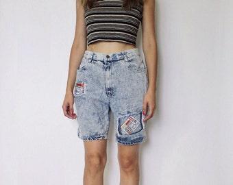 Vintage 1980s High Waist Denim Shorts  | Patchwork Denim Short | Acid Wash Shorts | 26.5