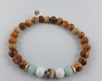 Bring It On - Picture Jasper, Amazonite, Howlite and Dalmatian Jasper Gemstone Bracelet