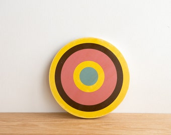 Target Wall Art, Circle Wall Decor, Target Art, Bull's Eye Art, Archery Target Art, Target Wall Hanging, Yellow/Brown/Pink/Blue,colorway #4