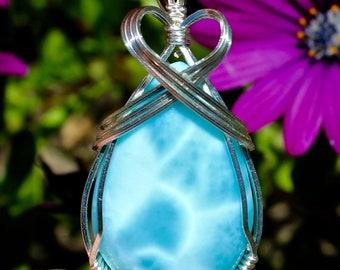 Larimar Turtleback Pendant, Larimar Stone Pendant, Argentium Sterling Silver Wire Wrapped, Aqua Blue Stone, Handmade Jewelry Necklace