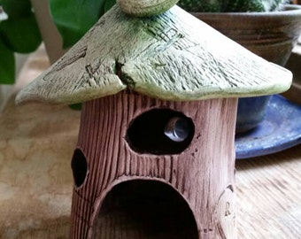 Adorable personalized fairy house, tea light, magic cottage, garden house, toad house CUSTOM ORDER