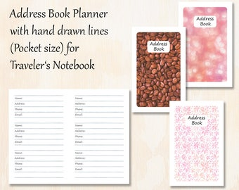 Pocket TN   3 covers   Address Book Planner with 3 covers   Hand drawn lines for Traveler's Notebook   Planner Insert
