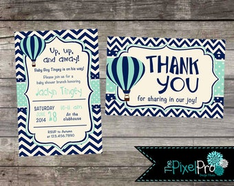 Hot air balloon chevron baby shower invitation, blue and teal chevron hot air balloon invite, boy baby shower announcement hot air balloon