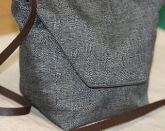 Linen + Polyester Crossbody Shoulder Bag, Shoulder Bag,Crossbody Handmade Fabric Bag, Handmade Gift , Dark Gray Shoulder Bag,
