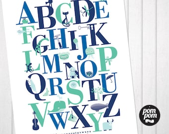 Alphabet Nursery Print (Blue Green) - INSTANT DIGITAL DOWNLOAD