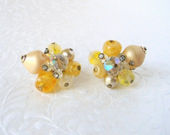 Meadowlark Yellow Cluster Beaded Clip Back Earrings Vintage Costume Jewelry Glass Bead Crystal Rhinestone Faux Pearl Wedding Formal Cocktail