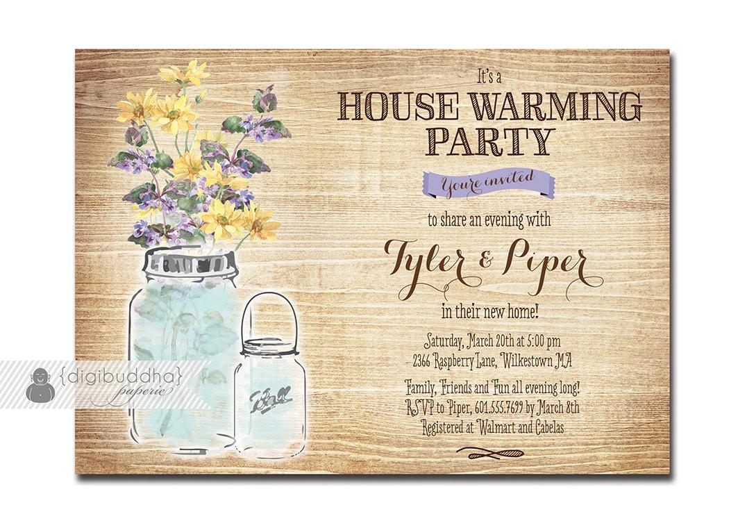 Mason jar housewarming invitation rustic wood watercolor zoom stopboris Image collections