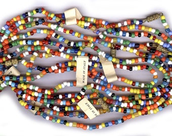 BOX LOT italian 2mm - 4mm seed bead necklaces 1960s OLD stock antique glass necklaces eight necklaces with italy tag and clasps