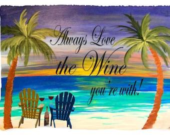 Wine romantic sunset palm tree beach throw blanket from my original art.