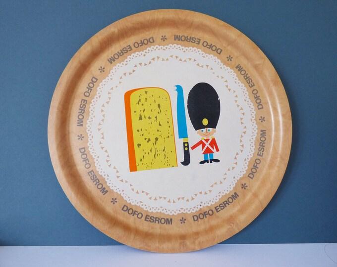 Vintage plywood tray advertising Dofo Esrom Danish Cheese