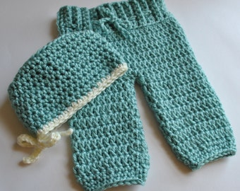 Scrub Pants with Matching Surgical Hat, Photoprop, Crochet Scrub Pants, Newborn, Made-to-Order