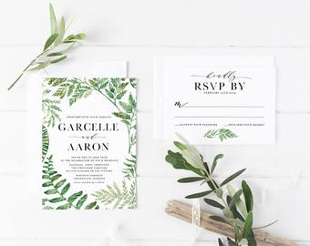 Printable Wedding Invitation Suite / Wedding Invite Set - Printable Wedding Invitation - Wedding Invitation Set - The Garcelle Fern Suite