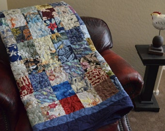 Quilt Blue Hawaiian Men's ReCycle RePurpose ReUse Tropical Beach Shirts Quilt Twin Made to Order