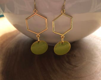 Dangle Earrings, Drop Earrings, Geometric Jewelry, Hexagon Earrings, Geometric Earrings, Birthday Gift, St Patricks Day Earrings
