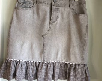 Gray Jeans skirt, Altered Wearable Art, Unique Ladies Wear, Up-cycled, Repurposed, OOAK