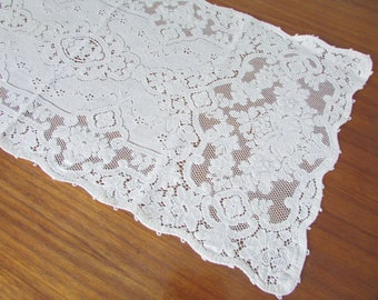"""Ivory Quaker Lace Roses Table Runner/ Vintage Off White Floral, Filet Crochet Lace Table Runner, Dresser or Buffet Scarf/ 15"""" X 32 1/2"""""""