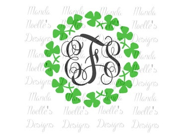 St. Patrick's Day Clover Circle SVG or Silhouette Instant Download
