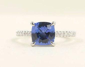 7mm Cushion Tanzanite Diamond Engagement Ring.26 High Quality Diamond Ring.Solid 14K White Gold. 7mm Cushion Natuarl Tanzanite Wedding Ring