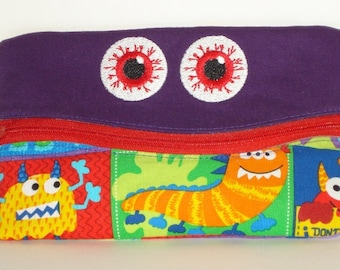 SMILING SCARY EYES Pencil or Phone Case with Aliens 100% cotton fabric nylon zipper closure