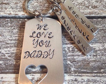 We love you Daddy~ gift for Dad~ From all the kiddos~ Keychain with the kids names~ Keychain for dad