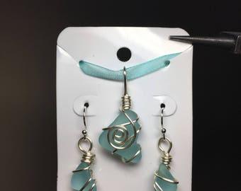 Beachglass Earrings & Pendant Set