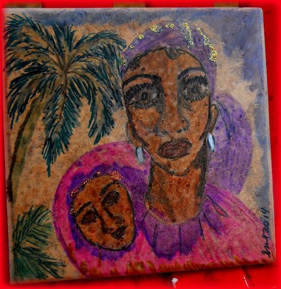 Original Watercolor Portrait on Ceramic Tile, MADONNA LOVE, Ethnic Folk Art women of color African American Art mother and child