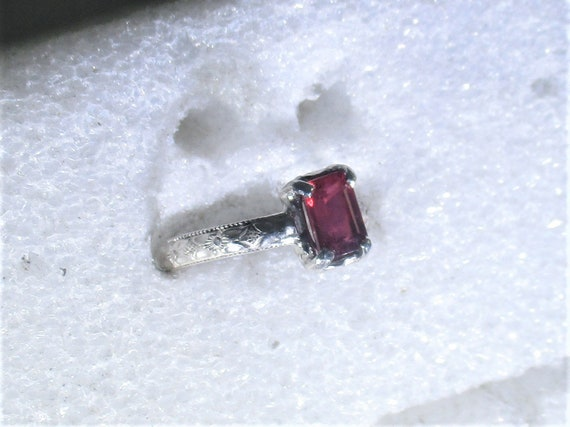 genuine Madagascar ruby handmade sterling silver solitaire ring size 6 1/4- ruby jewelry - ruby ring