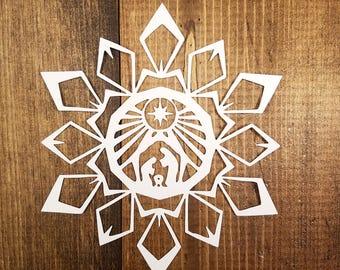 Paper Nativity Snowflake