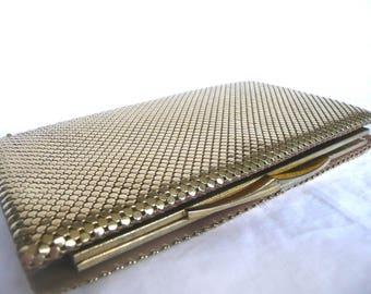 Gold mesh purse - vintage mesh purse - mid century gold mesh clutch purse - Australian gold mesh purse - gold evening bag