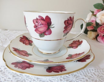 Duchess vintage 1960's teacup set, Pink and red roses, Deep red roses cup, Duchess china, English roses, Duchess rose tea trio