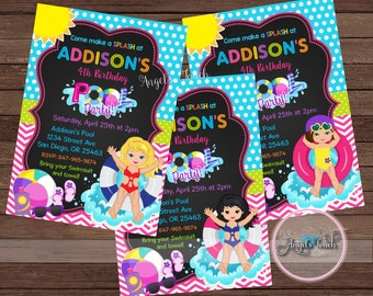 Pool Party Invitation, Girl Pool Birthday Invitation, Pool Birthday Party Invitation, Girl Pool Party Invitation, Pool Party, Digital File