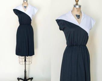 1970s Black White Dress --- Vintage Color Block Dress