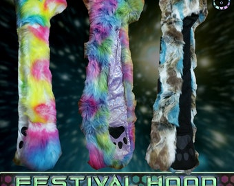 Colorful Festival Hood Collection (faux fur)/Animal Hat