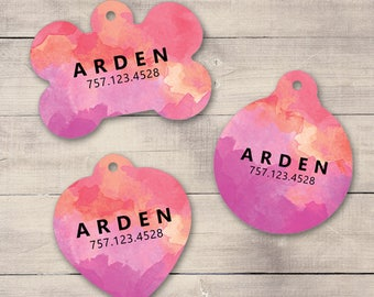 Pink Purple Watercolors Pet ID Tag, Custom Pet Tag, Personalized Dog Tag, Dog ID Tag, Puppy Tag, Dog ID, Pet Tag, Cat Tag (0008)