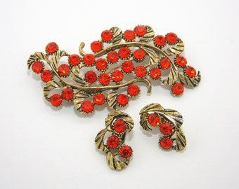 Orange rhinestone brooch earrings,Vintage, Demi Parure Dodds jewelry