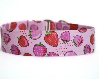 Strawberries Dog Collar / Custom Dog Collar / Martingale