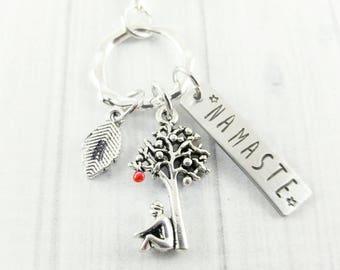 Tree Keychain - Yoga Keychain - Best Friend Gift Ideas - Meditation Gifts - Namaste Keychain - Namaste Jewellery - Gifts under 20