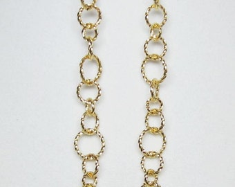 Gold or Silver Twist Rings Earrings Long Chain Graduated Hoop Rings
