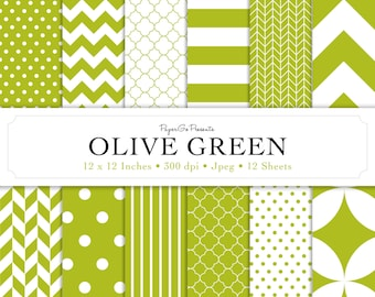"""Basic Patterns """"Olive Green"""" Digital Paper  • Instant Download • Scrapbooking Supply • High Quality •  Digital Paper Pack • Commercial Use"""